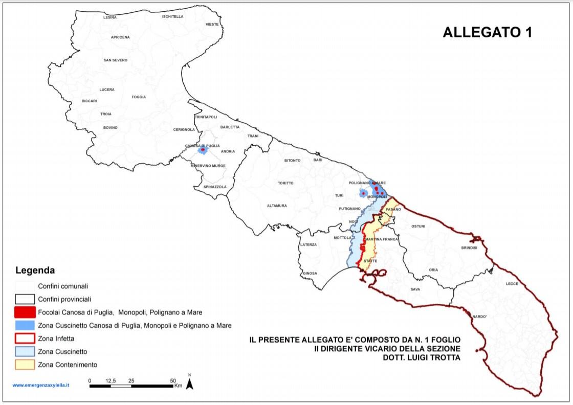 Mappa Xylella Puglia.Xylella Fastidiosa In Puglia Aggiornamento Delle Aree Delimitate Francesco Losito